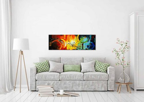 Abstract schilderij Thunder in een interieur