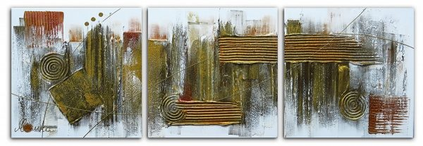 Abstract drieluik schilderij Goud