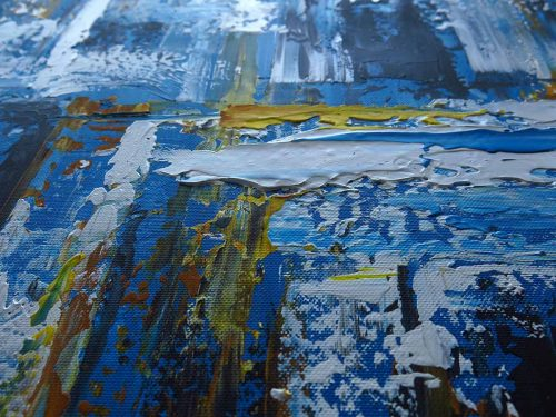Abstract schilderij: Dynamite BlueII - Uitvergroting 1/2
