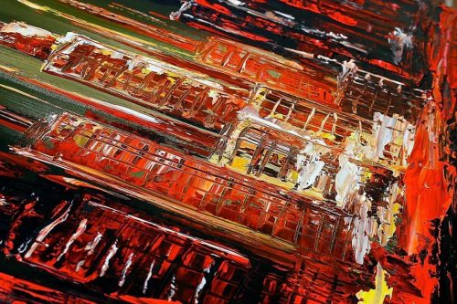 Abstract schilderij: Summer night - Uitvergroting 1/2