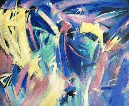 Abstract schilderij: The wave of Blue