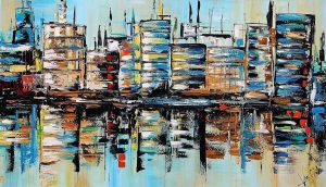 Abstract Skyline schilderij Big Blue City