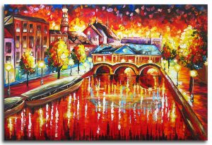 Skyline schilderij: Leiden by Night