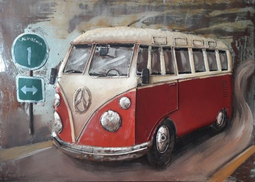 metaal schilderij auto rode vw bus t1. Black Bedroom Furniture Sets. Home Design Ideas