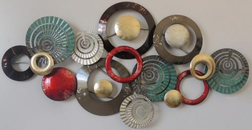 Metalen wanddecoratie Circles with colors